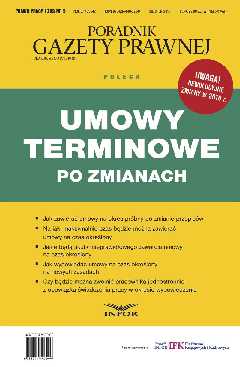 Prawo Pracy i ZUS 5/2015. Umowy terminowe po zmianach - Ebook (Książka PDF) do pobrania w formacie PDF