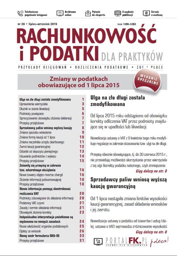 Rachunkowość i podatki dla praktyków - wydanie specjalne: Zmiany w przepisach podatkowych obowiązujące od 1 lipca 2015 - Ebook (Książka PDF) do pobrania w formacie PDF