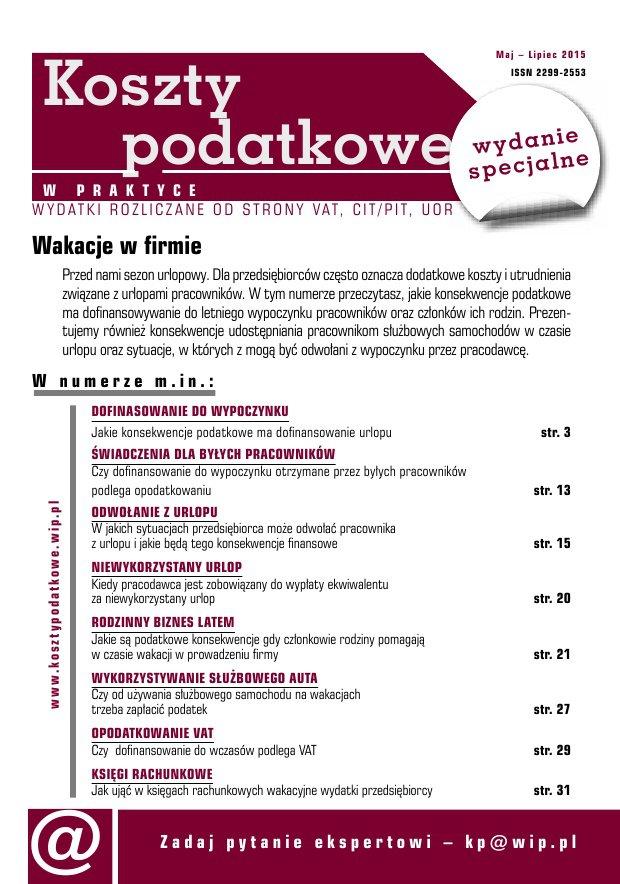 Koszty podatkowe w praktyce - wydanie specjalne: Wakacje w firmie - Ebook (Książka PDF) do pobrania w formacie PDF