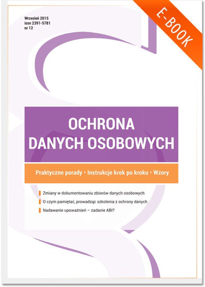 Ochrona danych osobowych - wydanie: wrzesień 2015 r. - Ebook (Książka PDF) do pobrania w formacie PDF