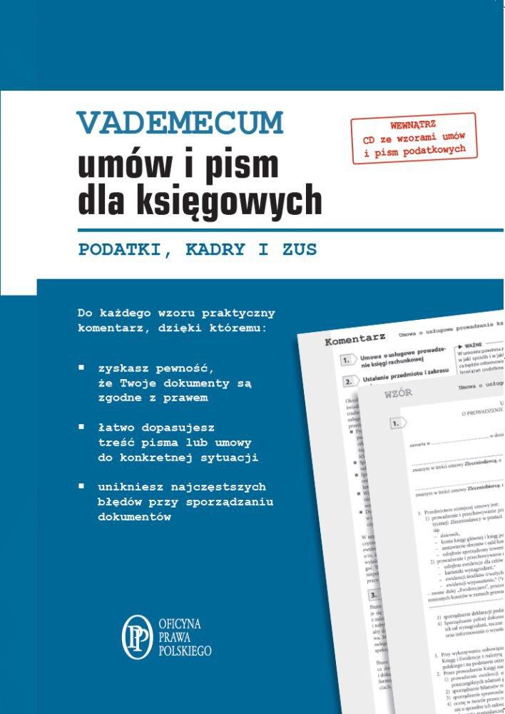 Vademecum umów i pism dla księgowych. Podatki. Kadry. ZUS - Ebook (Książka PDF) do pobrania w formacie PDF