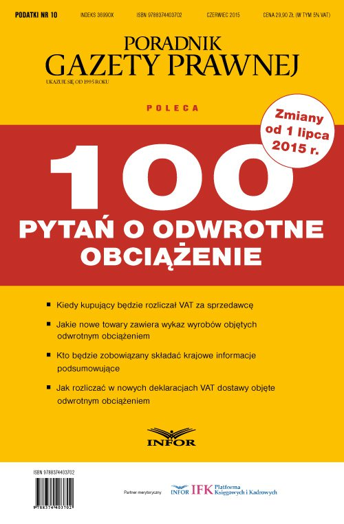PODATKI 2015 nr 10/15 - 100 pytań o odwrotne obciążenie - Ebook (Książka PDF) do pobrania w formacie PDF