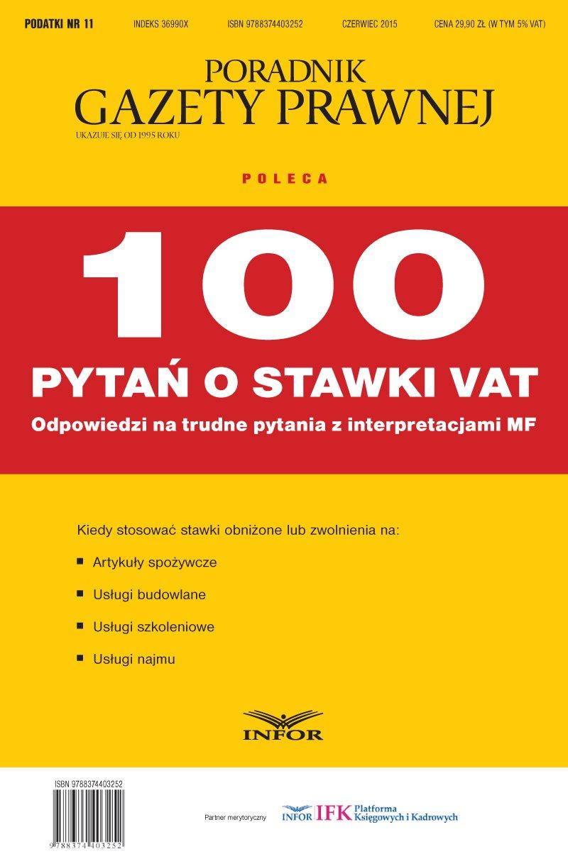 PODATKI  NR 11/15 - 100 pytań o stawki VAT - Ebook (Książka PDF) do pobrania w formacie PDF