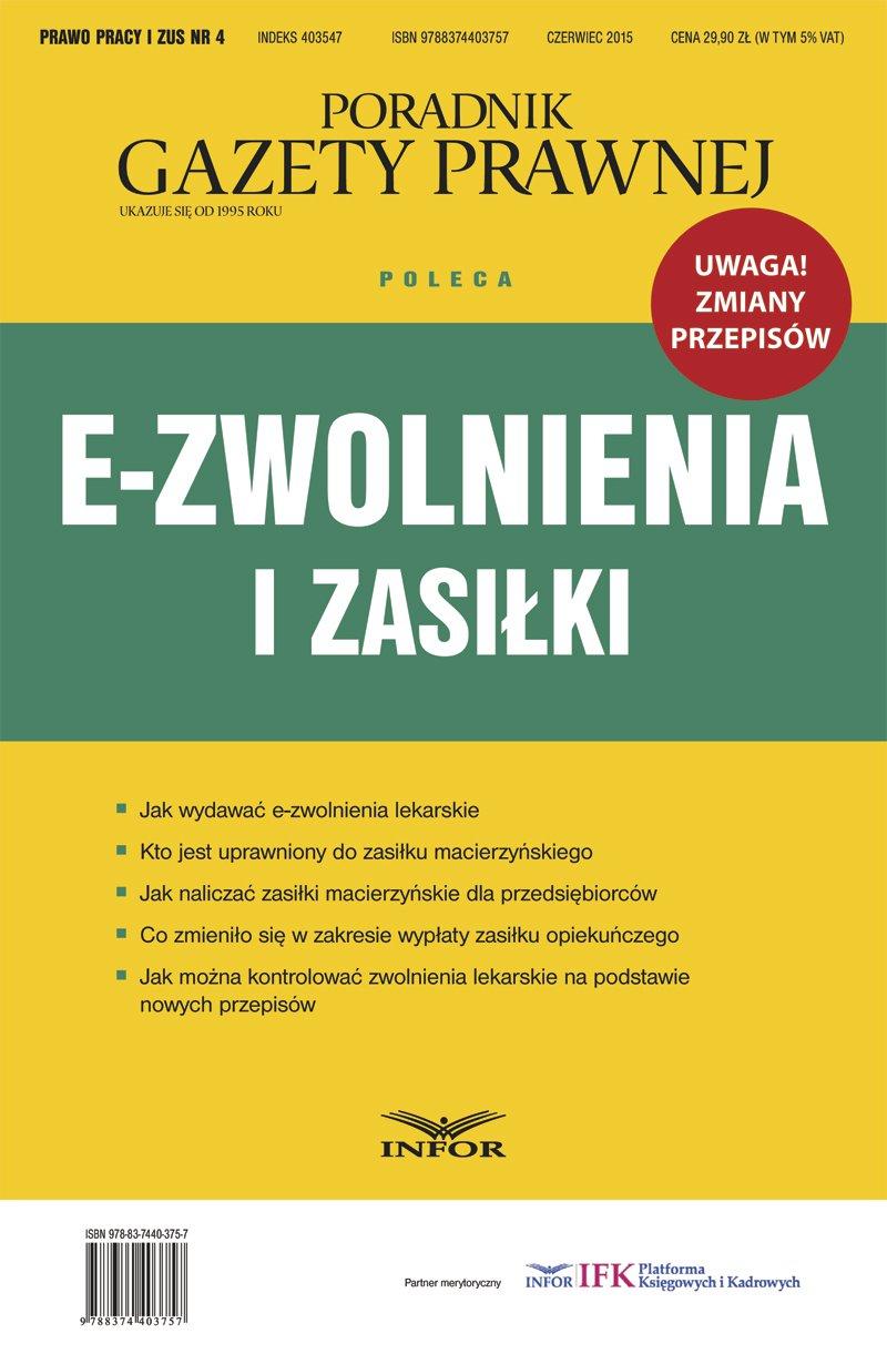 Prawo Pracy i ZUS 4/15 - E-zwolnienia i zasiłki - Ebook (Książka PDF) do pobrania w formacie PDF