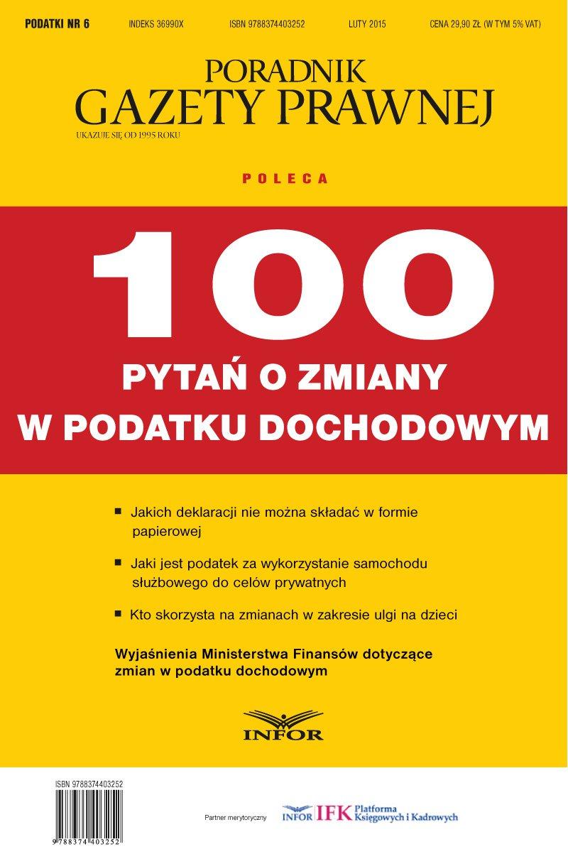 Podatki 6/15 - 100 pytań o zmiany w podatku dochodowym - Ebook (Książka PDF) do pobrania w formacie PDF