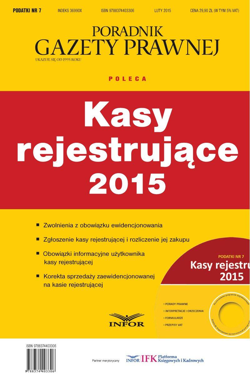 Podatki 7/2015-Kasy rejestrujące 2015 - Ebook (Książka PDF) do pobrania w formacie PDF