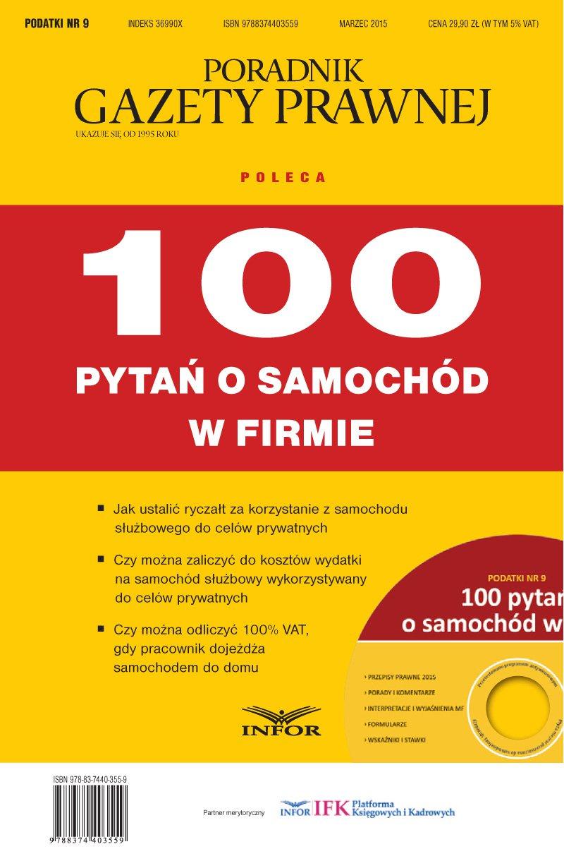 Podatki 9/15 - 100 pytań o samochód w firmie - Ebook (Książka PDF) do pobrania w formacie PDF