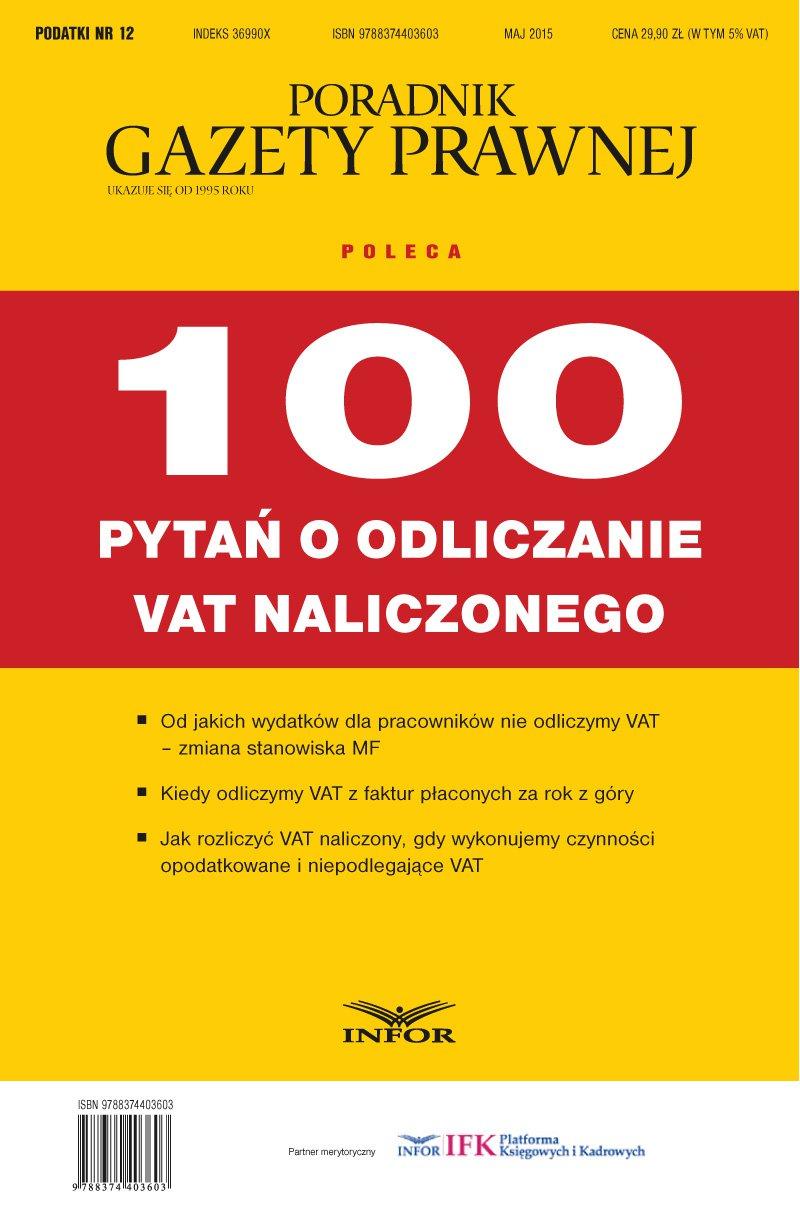 Podatki 12/15 - 100 pytań o odliczanie VAT naliczonego - Ebook (Książka PDF) do pobrania w formacie PDF