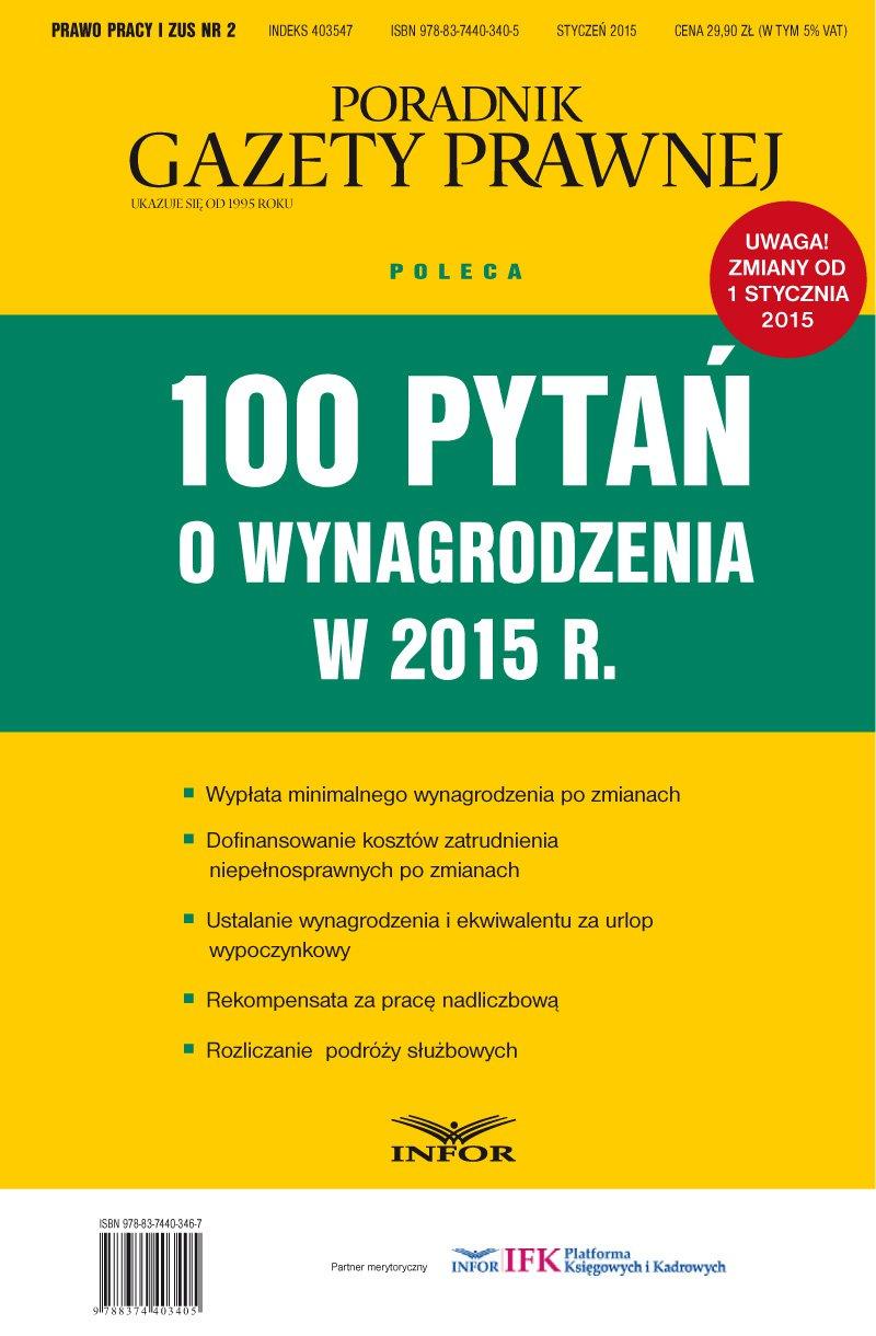 100 pytań o wynagrodzenia w 2015 r. - Ebook (Książka PDF) do pobrania w formacie PDF