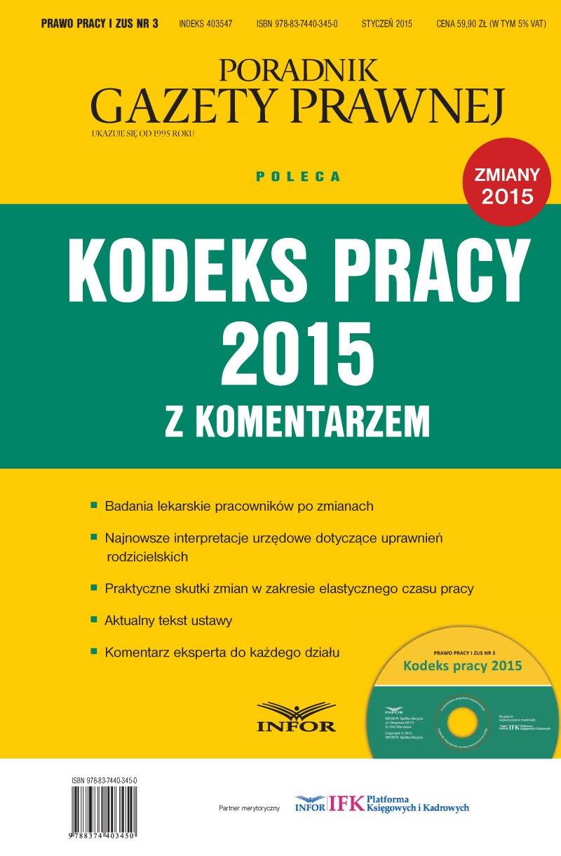 Kodeks pracy 2015 z komentarzem - Ebook (Książka PDF) do pobrania w formacie PDF