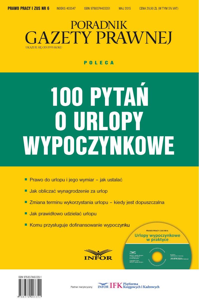 100 pytań o urlopy wypoczynkowe - Ebook (Książka PDF) do pobrania w formacie PDF