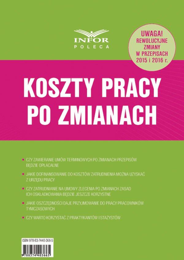 Koszty Pracy po zmianach - Ebook (Książka PDF) do pobrania w formacie PDF