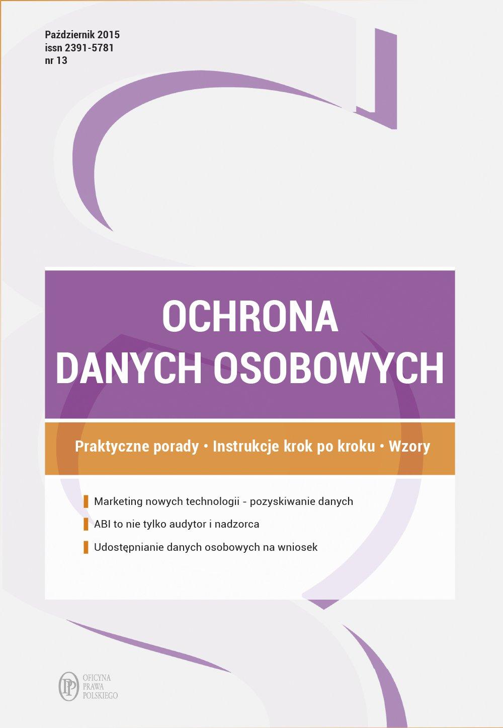 Ochrona danych osobowych - wydanie: październik 2015 r. - Ebook (Książka PDF) do pobrania w formacie PDF