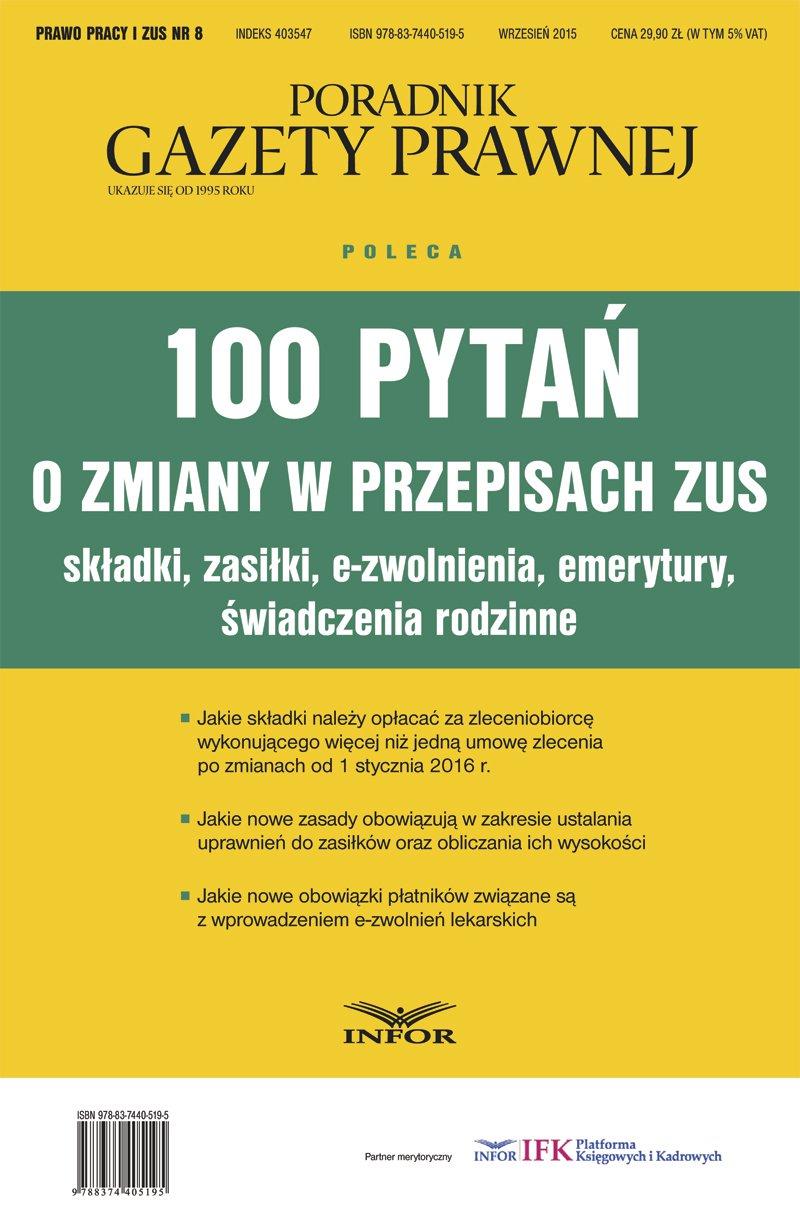 100 pytań o zmiany w przepisach ZUS - Ebook (Książka PDF) do pobrania w formacie PDF