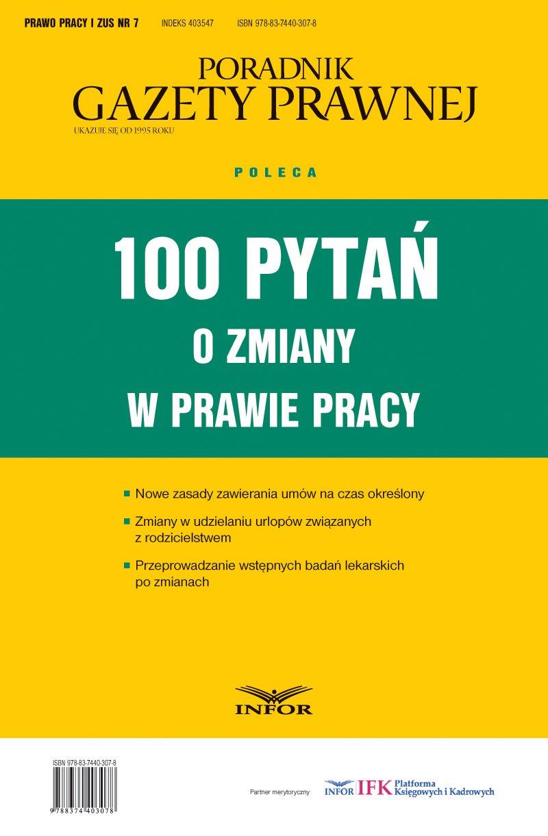 100 pytań o zmiany w prawie pracy - Ebook (Książka PDF) do pobrania w formacie PDF