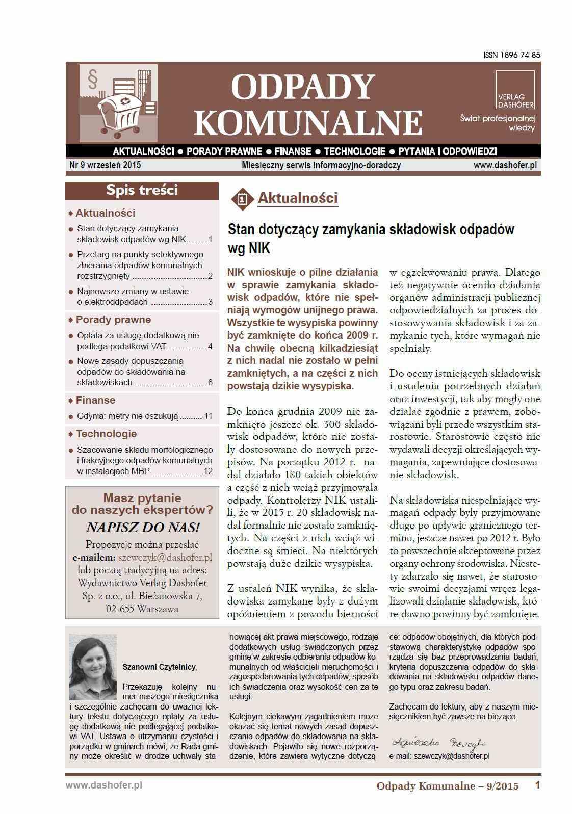 Odpady komunalne. Nr 9/2015 - Ebook (Książka PDF) do pobrania w formacie PDF