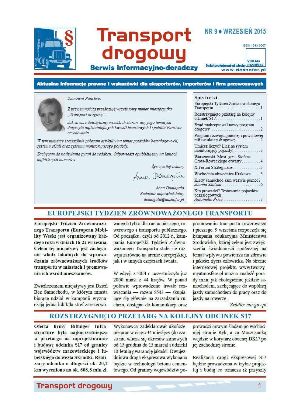 Transport drogowy. Aktualne informacje prawne i wskazówki dla eksporterów, importerów i firm przewozowych. Nr 9/2015 - Ebook (Książka PDF) do pobrania w formacie PDF