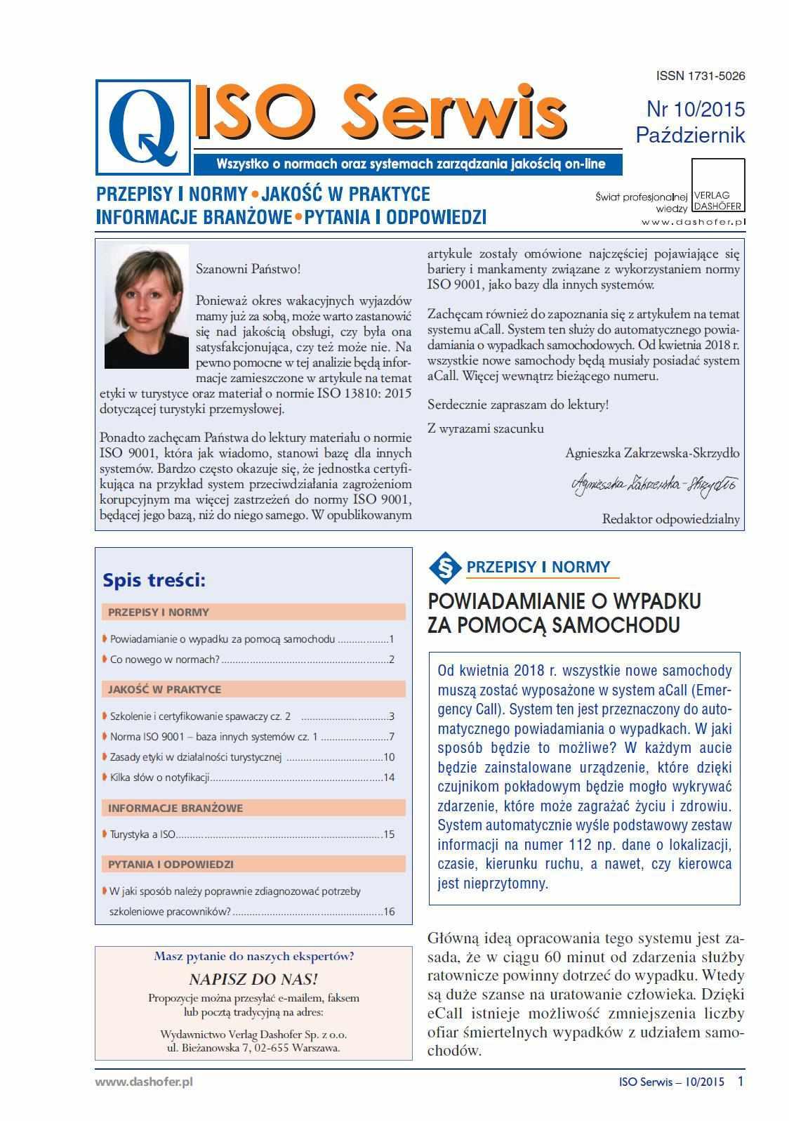 ISO Serwis. Wszystko o normach i systemach zarządzania jakością. Nr 10/2015 - Ebook (Książka PDF) do pobrania w formacie PDF