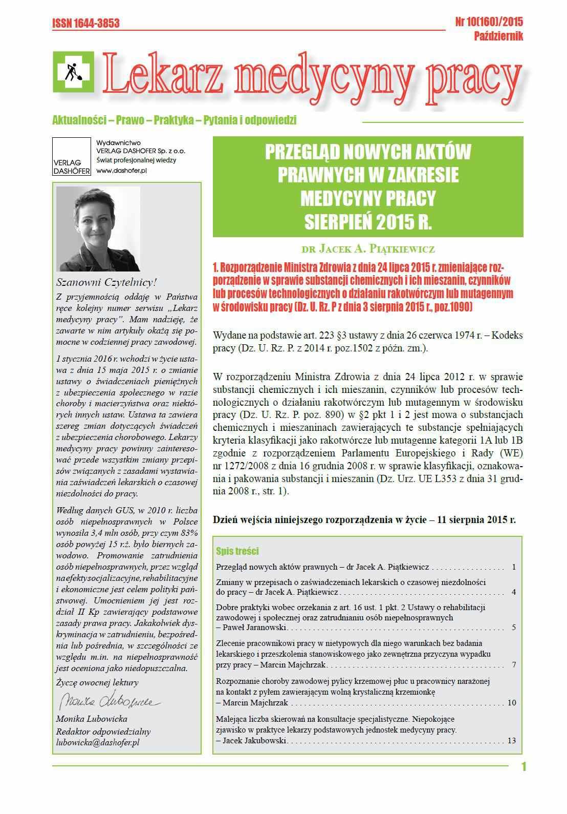 Lekarz Medycyny Pracy. Nr 10/2015 - Ebook (Książka PDF) do pobrania w formacie PDF
