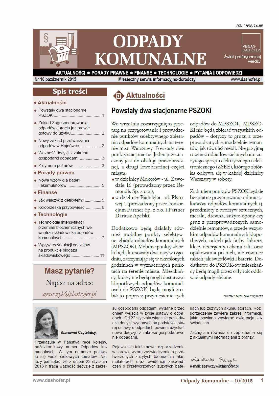 Odpady komunalne. Nr 10/2015 - Ebook (Książka PDF) do pobrania w formacie PDF