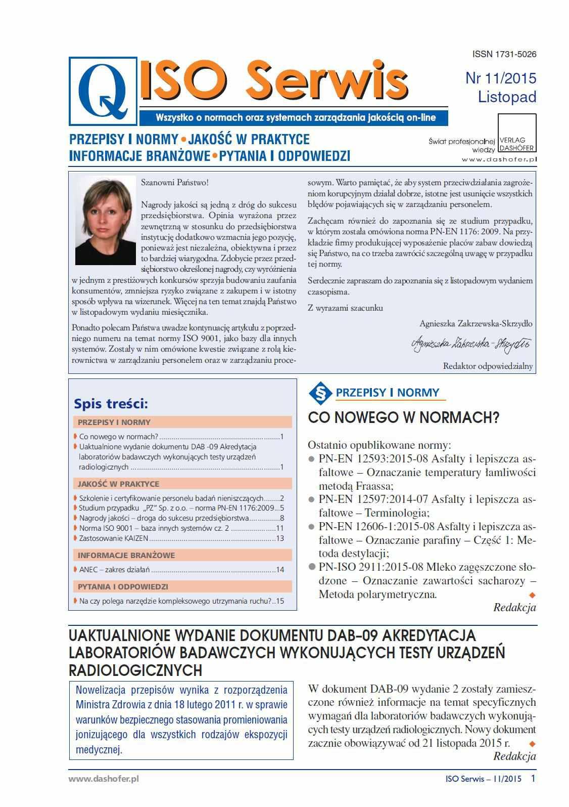 ISO Serwis. Wszystko o normach i systemach zarządzania jakością. Nr 11/2015 - Ebook (Książka PDF) do pobrania w formacie PDF