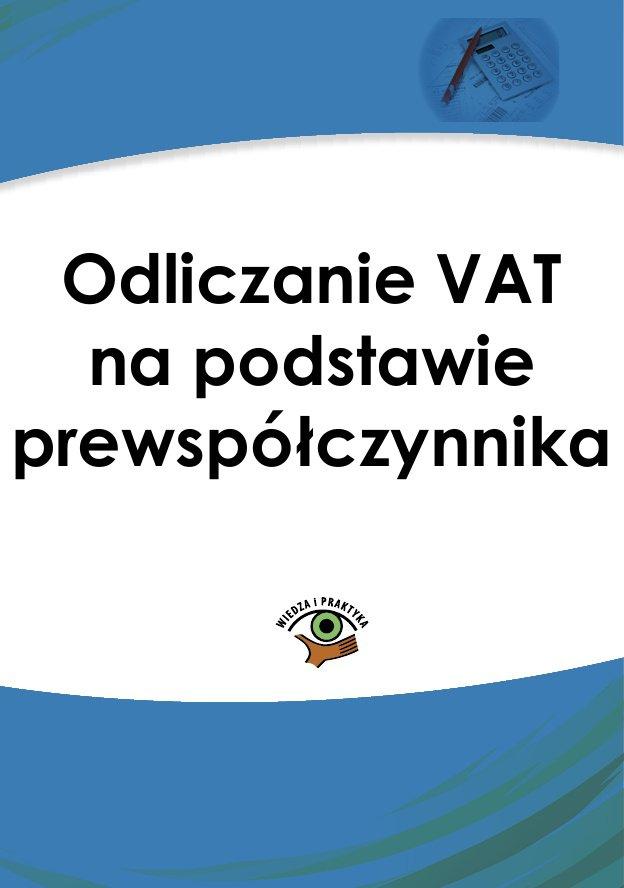 Odliczanie VAT na podstawie prewspółczynnika - Ebook (Książka PDF) do pobrania w formacie PDF