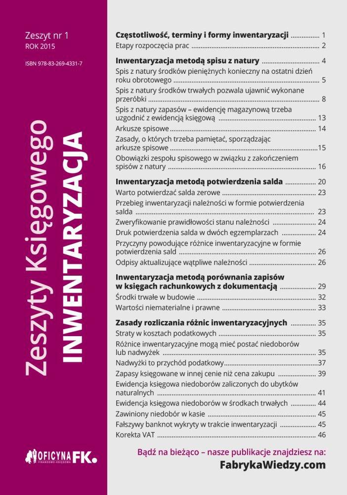 Zeszyty Księgowego. Nr 1. Inwentaryzacja - Ebook (Książka EPUB) do pobrania w formacie EPUB
