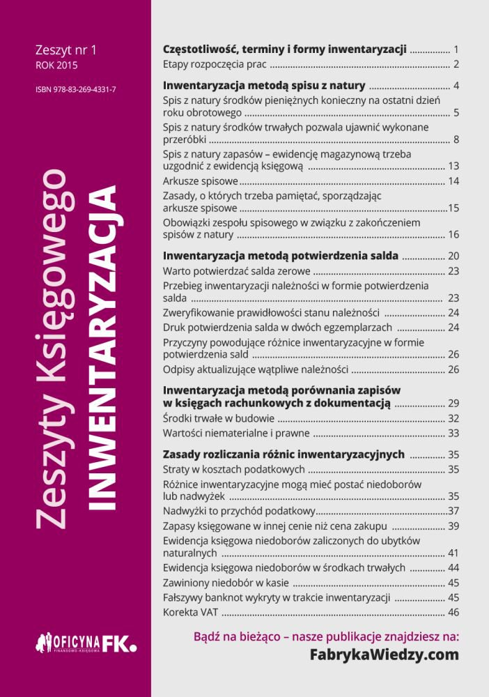 Zeszyty Księgowego. Nr 1. Inwentaryzacja - Ebook (Książka na Kindle) do pobrania w formacie MOBI