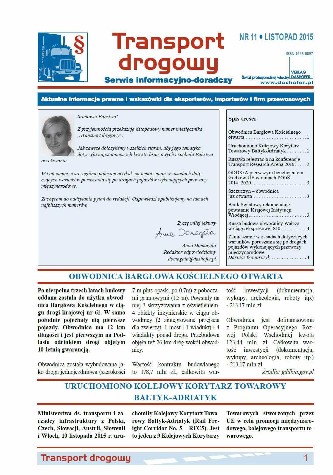 Transport drogowy. Aktualne informacje prawne i wskazówki dla eksporterów, importerów i firm przewozowych. Nr 11/2015 - Ebook (Książka PDF) do pobrania w formacie PDF
