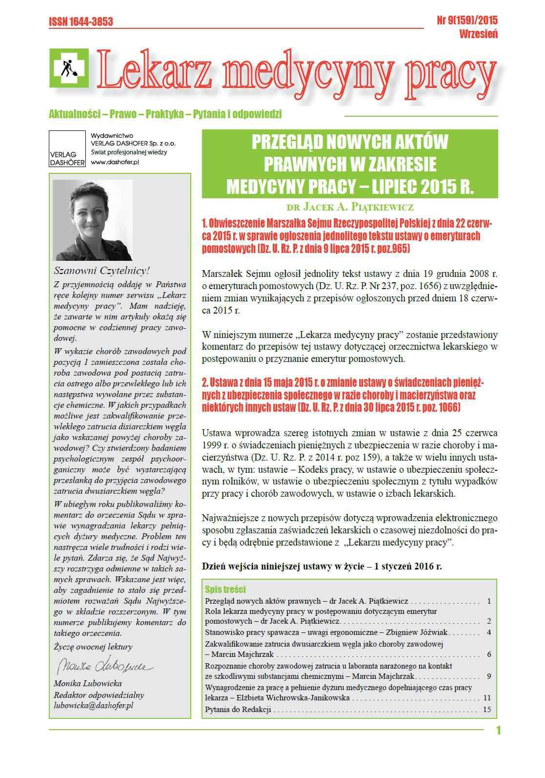 Lekarz Medycyny Pracy. Nr 9/2015 - Ebook (Książka PDF) do pobrania w formacie PDF