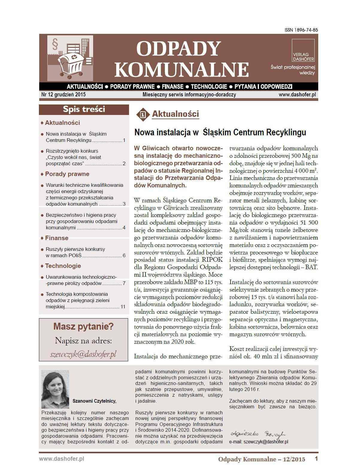 Odpady komunalne. Nr 12/2015 - Ebook (Książka PDF) do pobrania w formacie PDF