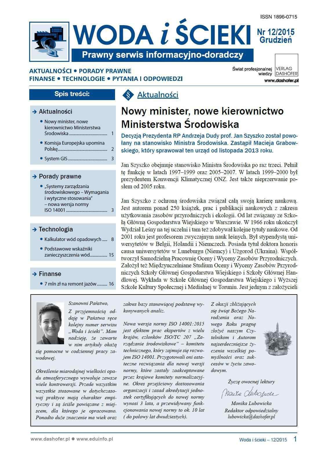 Woda i ścieki. Prawny serwis informacyjno-doradczy. Nr 12/2015 - Ebook (Książka PDF) do pobrania w formacie PDF