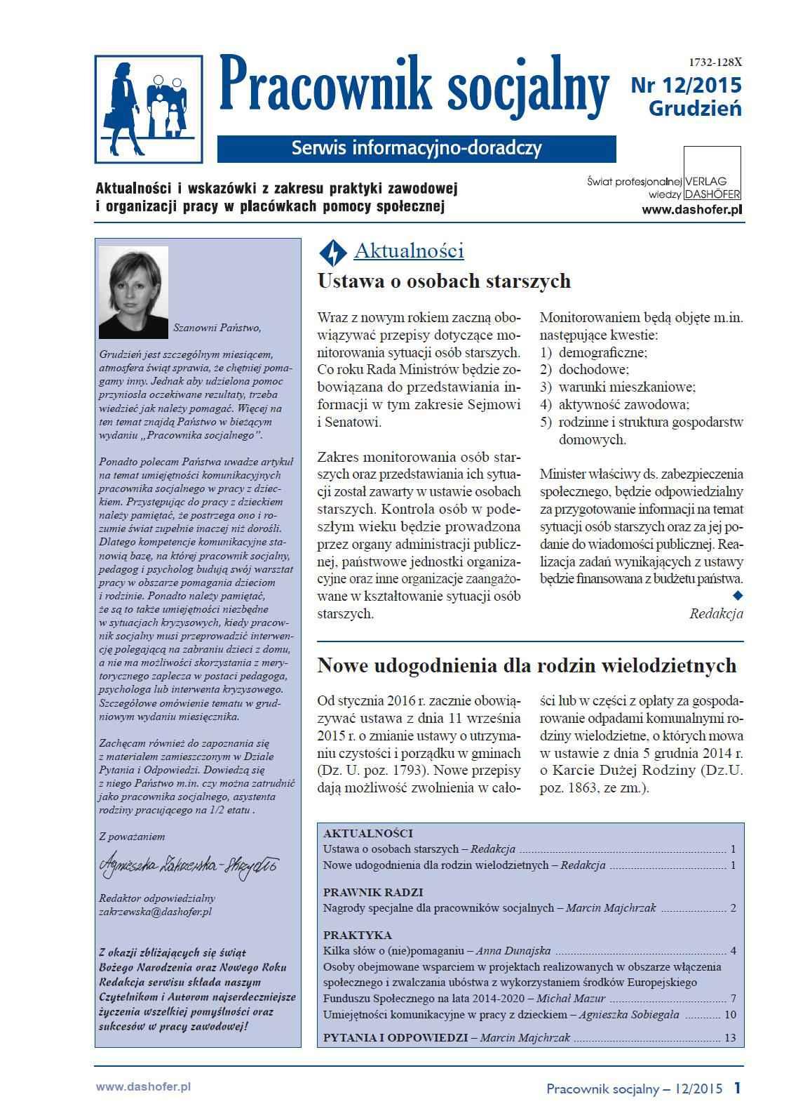 Pracownik socjalny. Aktualności i wskazówki z zakresu praktyki zawodowej i organizacji pracy w placówkach pomocy społecznej. Nr 12/2015 - Ebook (Książka PDF) do pobrania w formacie PDF