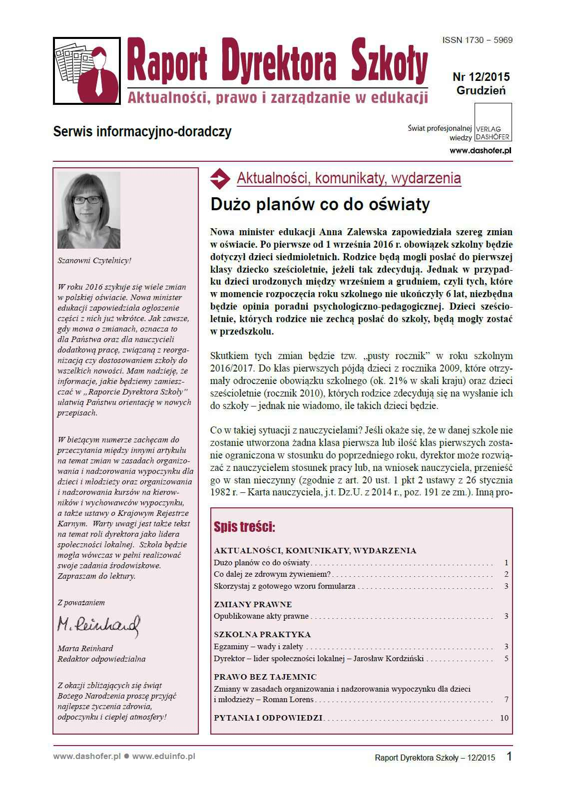 Raport Dyrektora Szkoły. Aktualności, prawo i zarządzanie w edukacji. Nr 12/2015 - Ebook (Książka PDF) do pobrania w formacie PDF