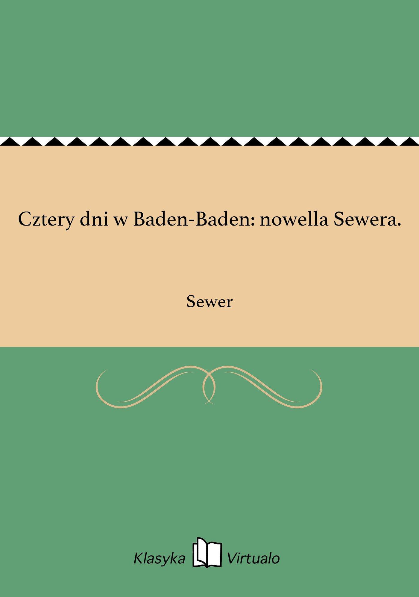 Cztery dni w Baden-Baden: nowella Sewera. - Ebook (Książka na Kindle) do pobrania w formacie MOBI