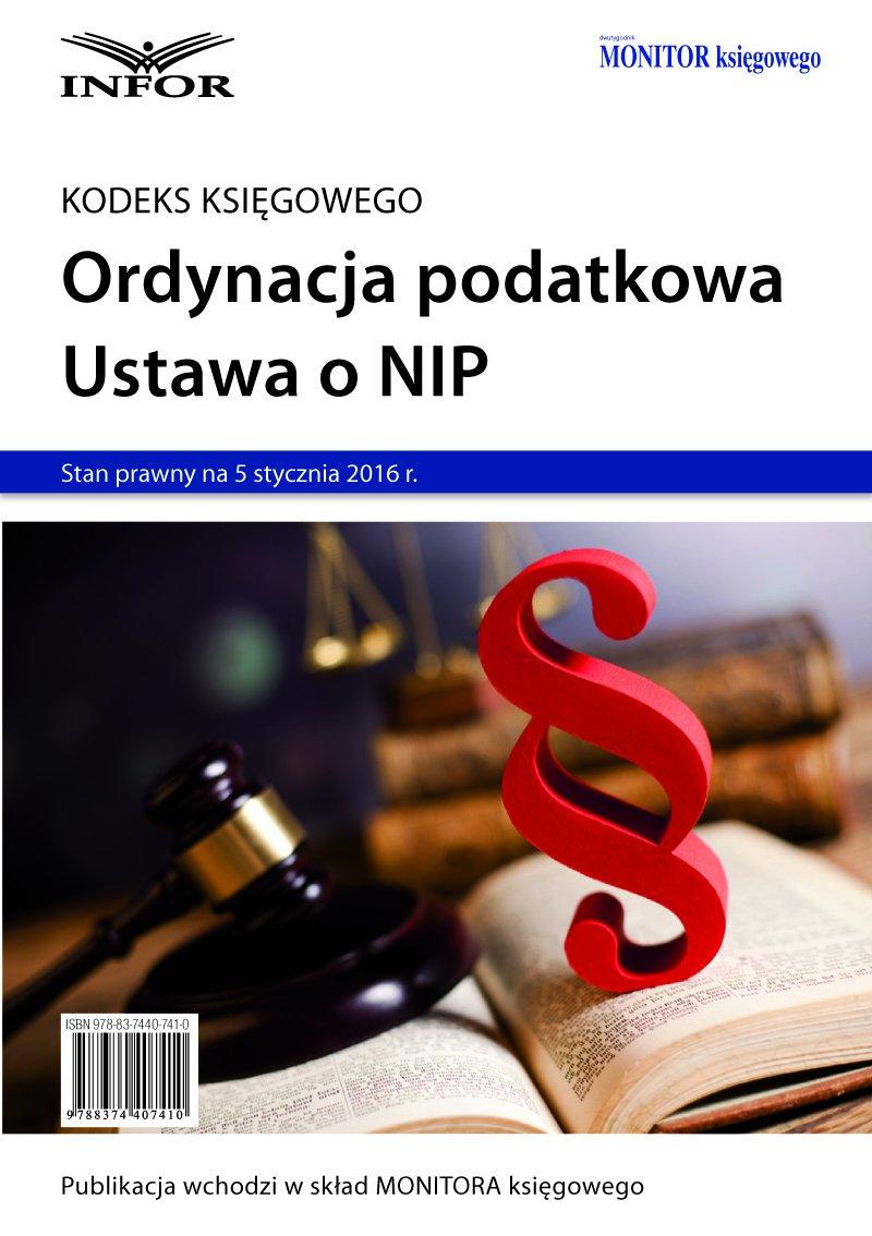 Ordynacja podatkowa. NIP 2016 - Ebook (Książka PDF) do pobrania w formacie PDF