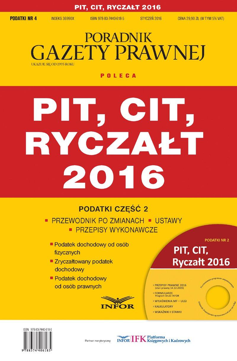 Podatki 2016/04 PIT, CIT, Ryczałt - Ebook (Książka PDF) do pobrania w formacie PDF