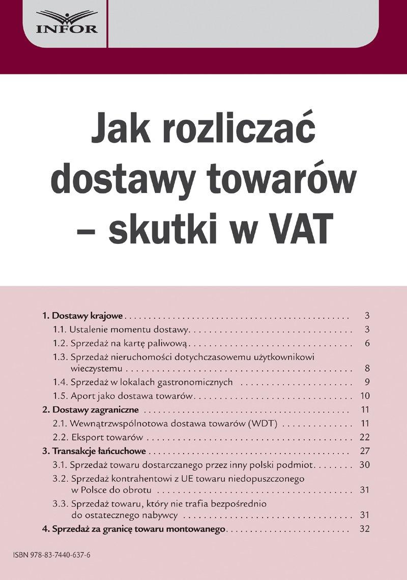 Jak rozliczać dostawy towarów – skutki w VAT - Ebook (Książka PDF) do pobrania w formacie PDF