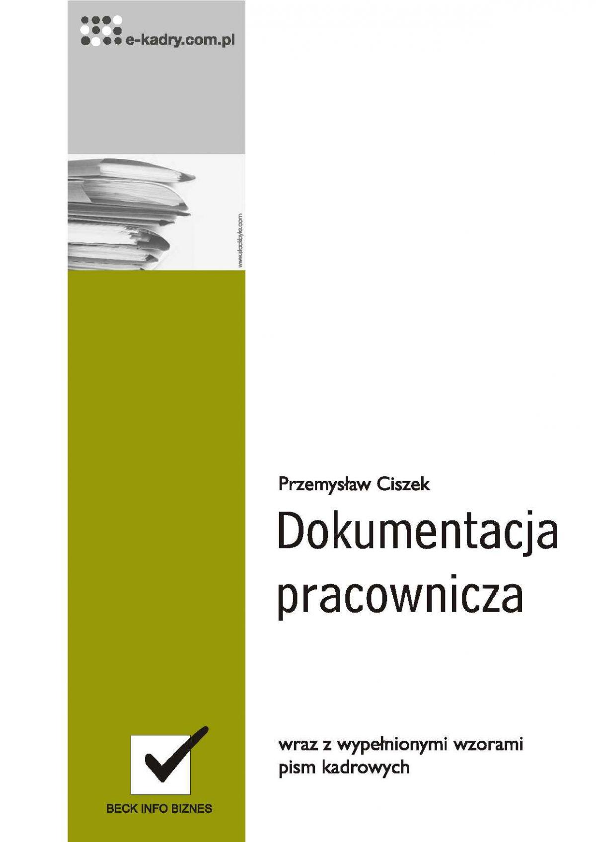 Dokumentacja pracownicza wraz z niezbędnymi wzorami pism kadrowych - Ebook (Książka PDF) do pobrania w formacie PDF