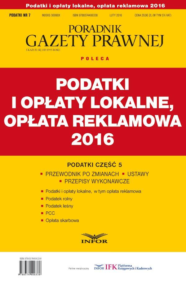 Podatki i opłaty lokalne, opłata reklamowa 2016 - Ebook (Książka PDF) do pobrania w formacie PDF