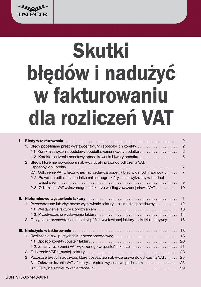 Skutki błędów i nadużyć w fakturowaniu dla rozliczeń VAT - Ebook (Książka PDF) do pobrania w formacie PDF