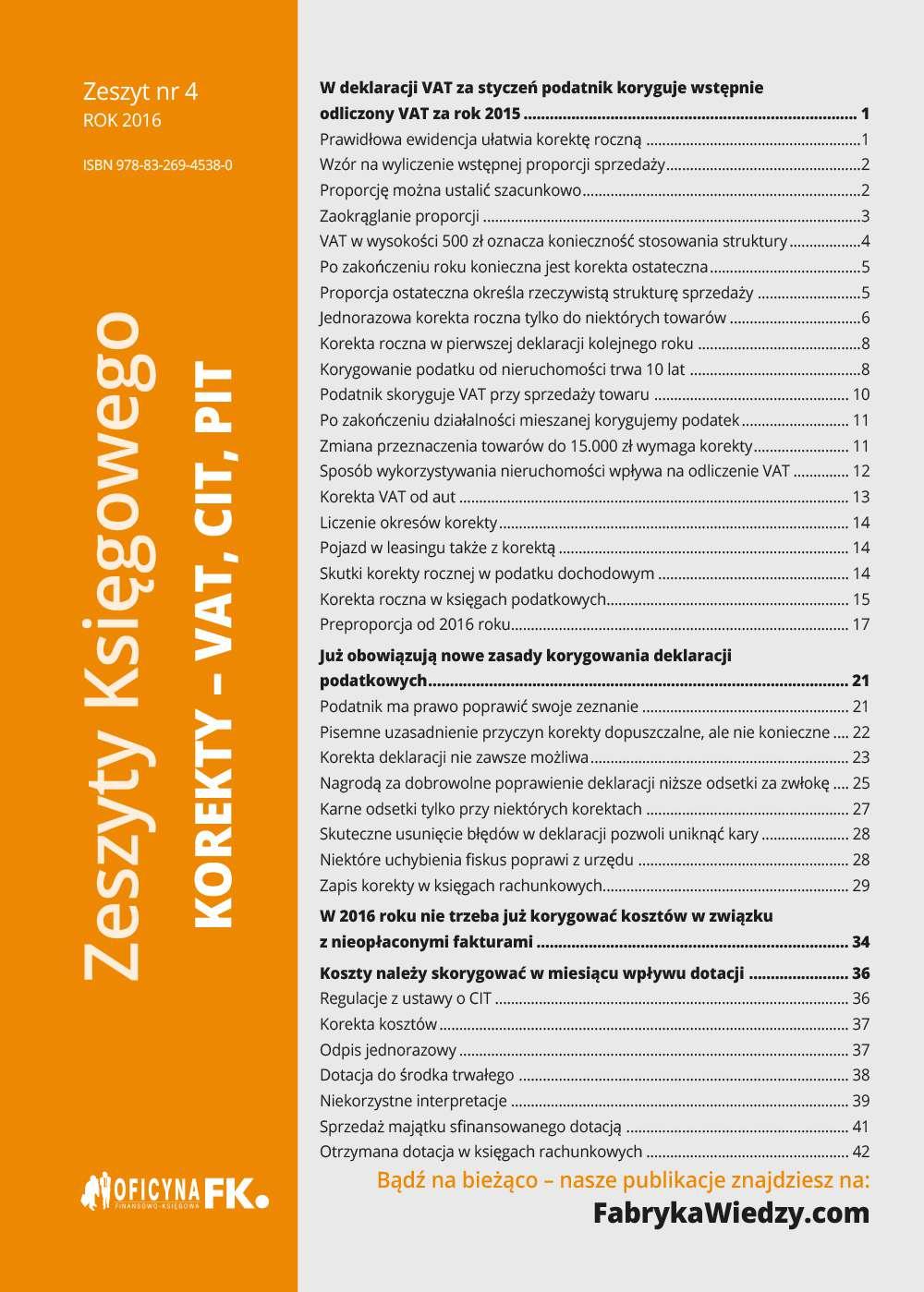 Zeszyty Księgowego nr 4. Korekty VAT, CIT, PIT - Ebook (Książka EPUB) do pobrania w formacie EPUB
