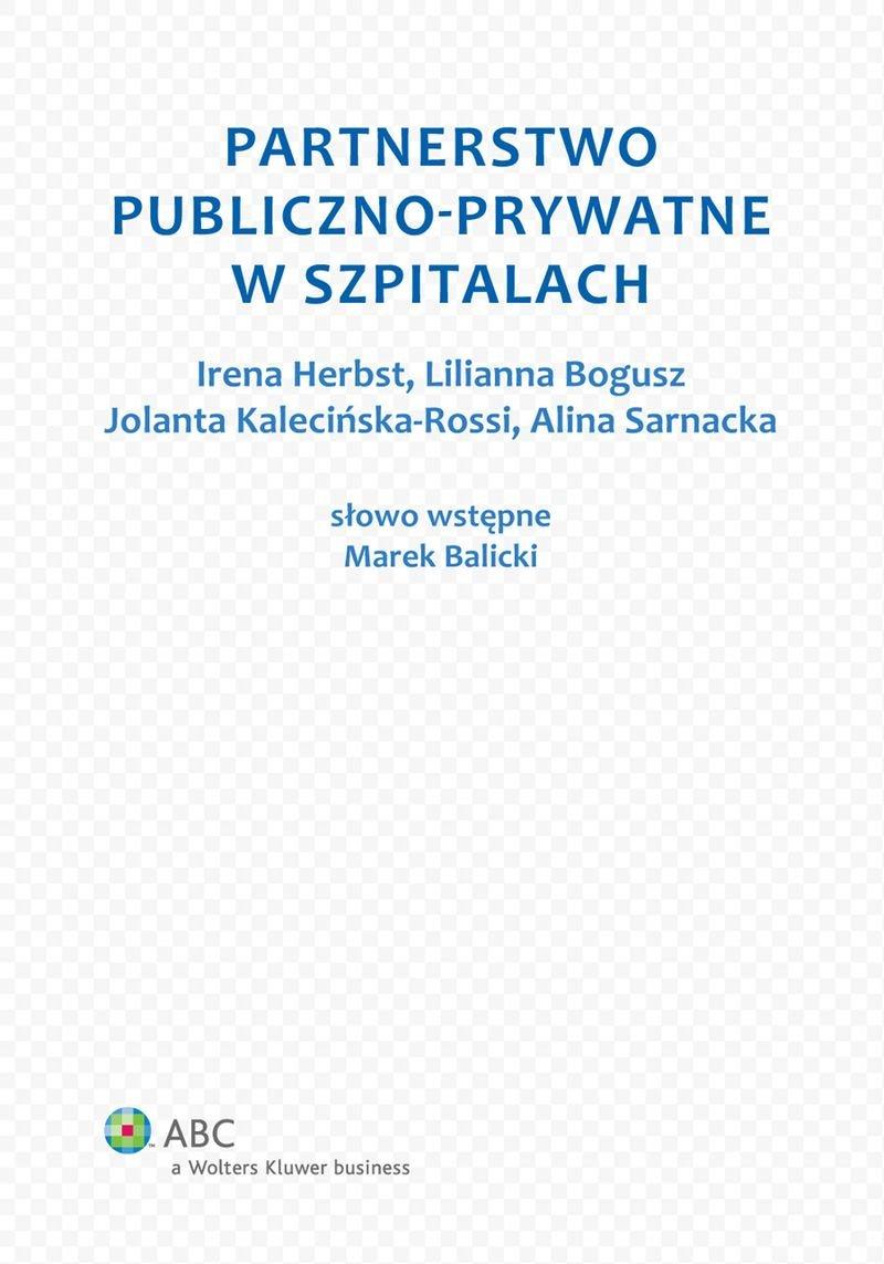 Partnerstwo publiczno-prywatne w szpitalach - Ebook (Książka PDF) do pobrania w formacie PDF