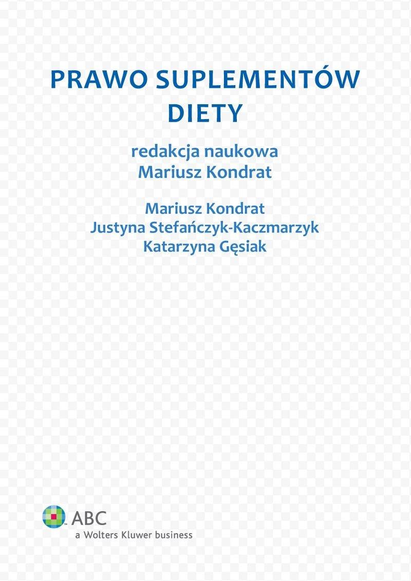 Prawo suplementów diety - Ebook (Książka PDF) do pobrania w formacie PDF