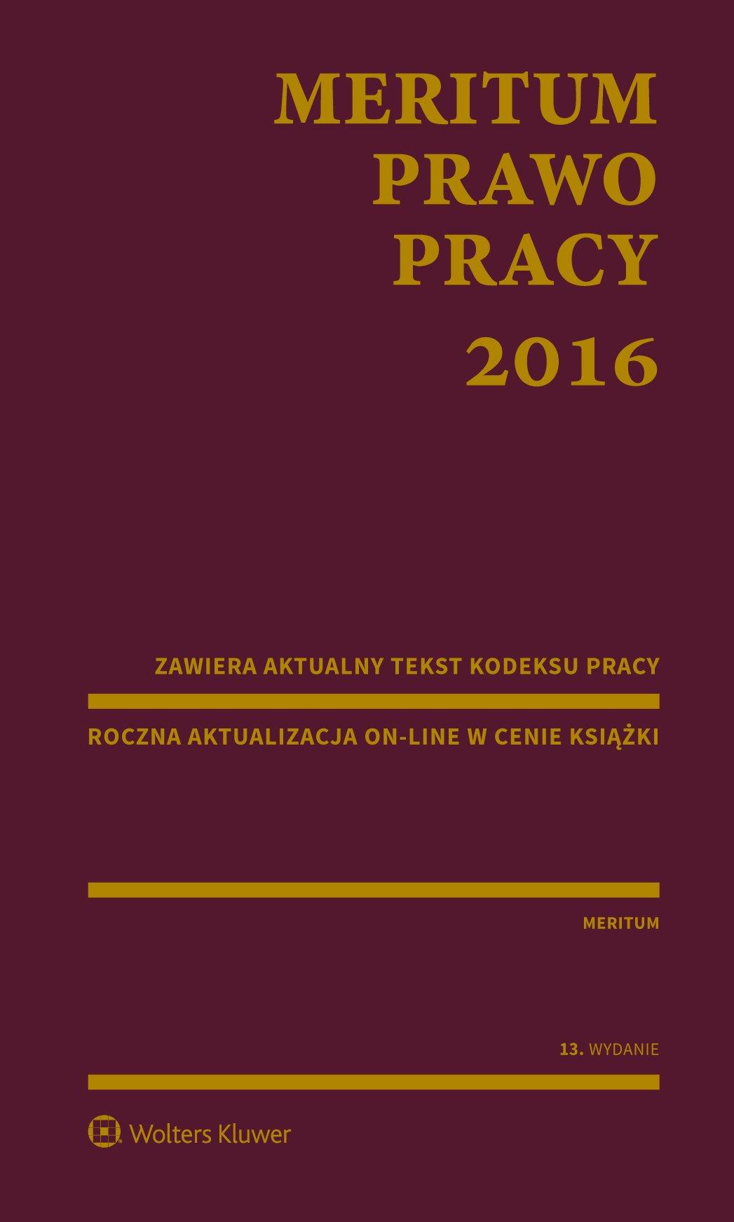 MERITUM Prawo pracy 2016 - Ebook (Książka PDF) do pobrania w formacie PDF