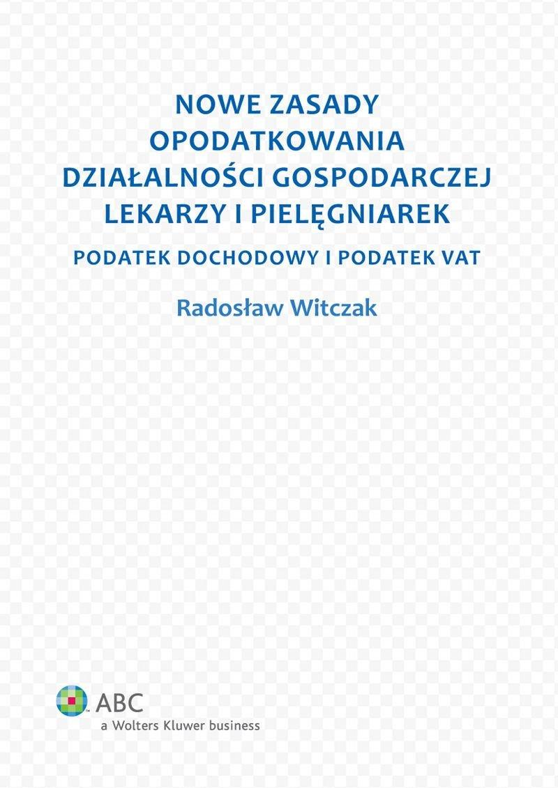 Nowe zasady opodatkowania działalności gospodarczej lekarzy i pielęgniarek - Ebook (Książka PDF) do pobrania w formacie PDF