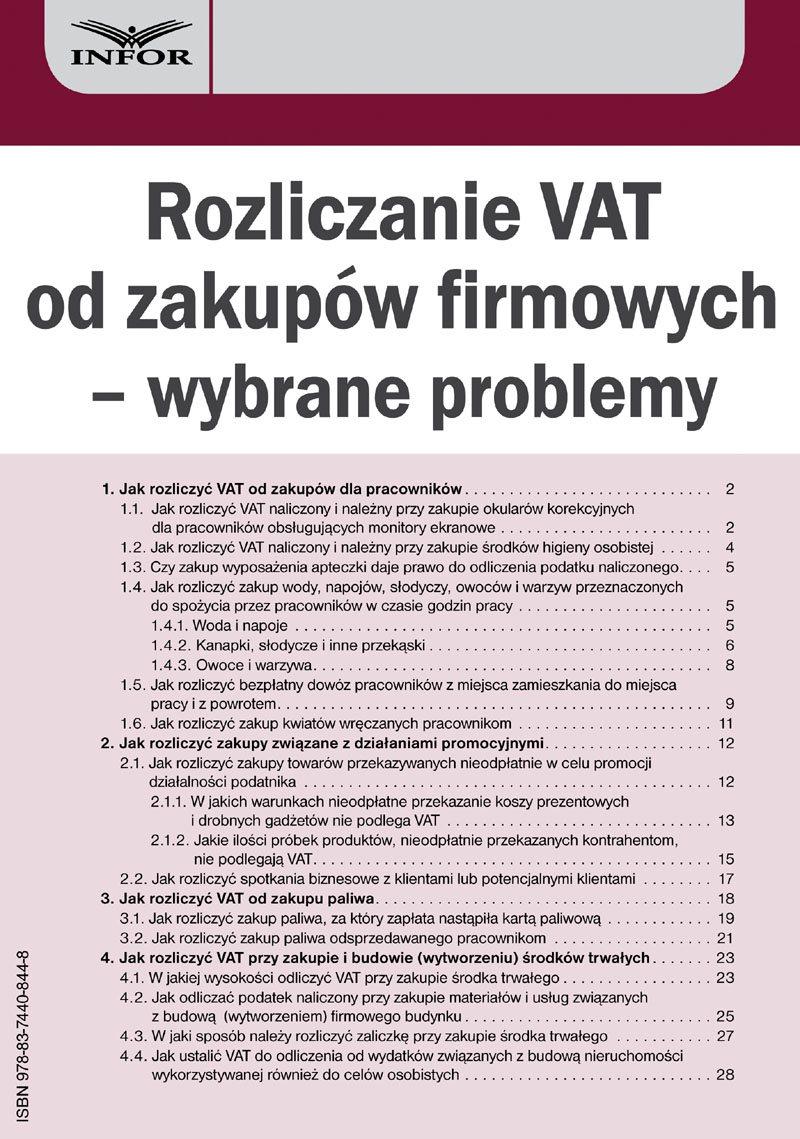 Rozliczanie VAT od zakupów firmowych – wybrane problemy - Ebook (Książka PDF) do pobrania w formacie PDF