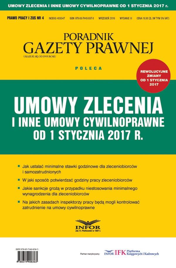 Umowy zlecenia i inne umowy cywilnoprawne od 1 stycznia 2017 r. - Ebook (Książka PDF) do pobrania w formacie PDF