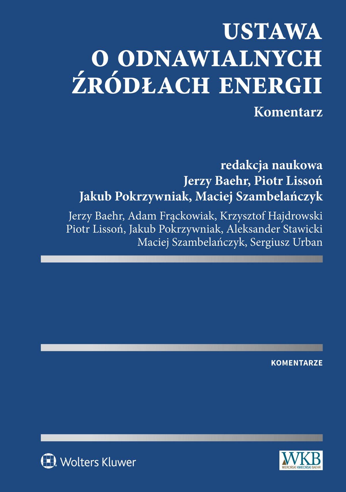 Ustawa o odnawialnych źródłach energii. Komentarz - Ebook (Książka EPUB) do pobrania w formacie EPUB
