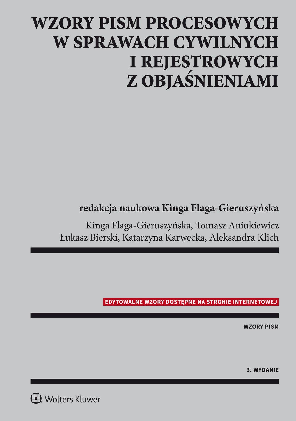 Wzory pism procesowych w sprawach cywilnych i rejestrowych z objaśnieniami - Ebook (Książka EPUB) do pobrania w formacie EPUB